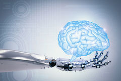 Robotic hand holding brain stock photography