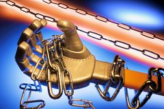 Robotic Hand Holding Chains Royalty Free Stock Photography