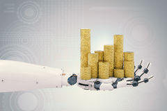 Robotic Hand Holding Gold Coins Royalty Free Stock Photo