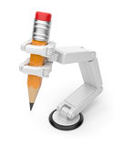 Robotic hand holding pencil 3d. AI Royalty Free Stock Photography
