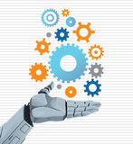 Robot hand holding gears Royalty Free Stock Photo