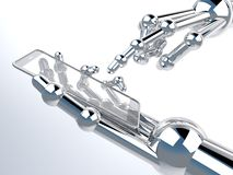 Robotic hand holding and Touch on transparent Smartphone Royalty Free Stock Photos