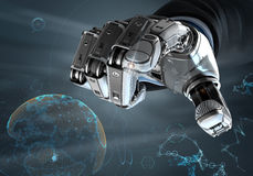Robotic hand i affärsdräkten som pekar med pekfingret Arkivfoto