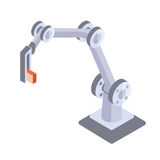 Robotic hand. Industrial robot manipulator. Vector illustration in isometric projection, isolated on white background. Stock Photography