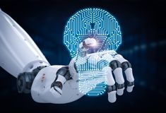 Robotic hand med strömkretsbrädet i lightbulbform Royaltyfria Foton