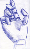 Robotic hand pencil sketch. Hand drawn pencil sketch of a wooden hand mannequin that looks like robotic hand Royalty Free Stock Image