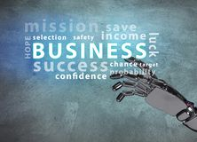 Robotic hand point on business word cloud. Royalty Free Stock Photo