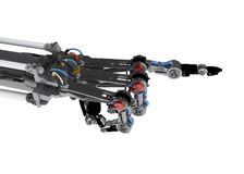 Robotic Hand, Pointing. 3d robotic hand, over white, isolated Stock Image