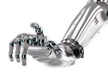 Robotic hand pointing. 3d rendering robotic hand pointing isolated on white Royalty Free Stock Photo