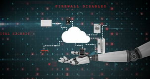 Robotic hand presenting digital cloud symbol surrounded with home appliance icons stock illustration