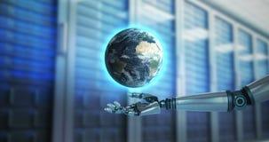Robotic hand presenting digital globe