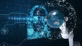 Robotic hand presenting globe against binary code background stock illustration