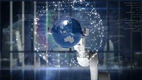 Robotic hand presenting globe against binary code background royalty free illustration