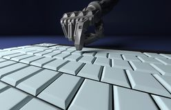 Robotic Hand Pressing Enter Key On Keyboard. 3d rendering. worki stock illustration
