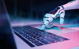 Robotic hand pressing a keyboard on a laptop 3D rendering. Robotic cyborg hand pressing a keyboard on a laptop 3D rendering royalty free illustration
