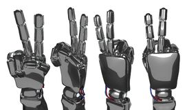 Robotic hand shows two fingers. 3d rendering. Metallic robot hand shows two fingers. Future technology concept. 3d rendering Royalty Free Stock Photos