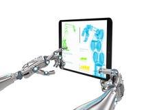 Robotic hand som arbetar med den digitala minnestavlan Arkivbilder