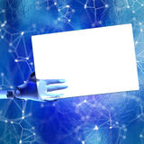 robotic hand som 3d rymmer det tomma kortet royaltyfri illustrationer