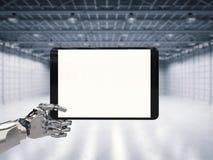 Robotic hand som rymmer den tomma skärmen Royaltyfria Foton