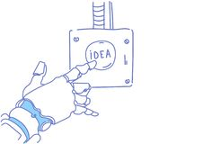 Robotic hand touch idea button creative innovation artificial intelligence inspiration progect startup assistance. Concept sketch doodle horizontal vector royalty free illustration