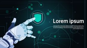 Robotic Hand Touch Shield Button On Digital Screen Data Protection Concept Banner With Copy Space. Flat Vector Illustration Royalty Free Stock Images
