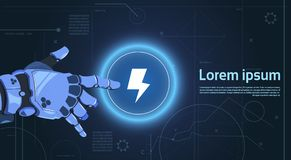 Robotic Hand Touch Web Button Lightning On Digital Screen Banner With Copy Space. Flat Vector Illustration Royalty Free Stock Image
