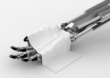 Robotic Hand, White Cloth Stock Photo