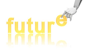 Robotic hand and word Future Stock Photos