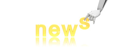 Robotic hand and word news Stock Images