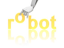 Robotic hand with word robot Stock Photography
