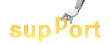 Robotic hand and word support Royalty Free Stock Photography