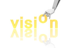 Robotic hand and word Vision Stock Photo