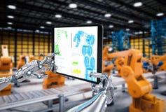 Robotic hand working with digital tablet. 3d rendering robotic hand working with digital tablet stock illustration