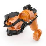 Robotic handmaskinhjälpmedel som isoleras på vit 3D illustration, snabb bana Arkivbild