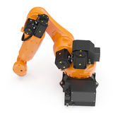 Robotic handmaskinhjälpmedel som isoleras på vit 3D illustration, snabb bana Arkivbilder