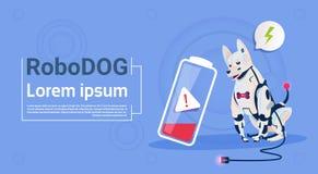 Robotic hund med teknologi för konstgjord intelligens för husdjur för robot för lågt batteriladdningstamdjur modern vektor illustrationer