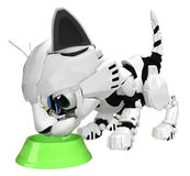 Robotic Kitten, Bowl Stock Photography