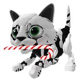 Robotic Kitten, Candy Cane. Robotic kitten with candy cane, 3d illustration, horizontal Royalty Free Stock Images