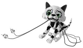 Robotic Kitten, Dragging Mice Royalty Free Stock Image