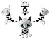 Robotic Kitten, Four Directions. Robotic kitten four directions sitting, 3d illustration, horizontal, isolated Royalty Free Stock Photography