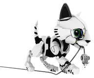 Robotic Kitten, Mouse Caught Royalty Free Stock Photography