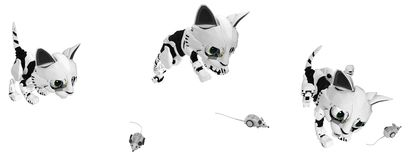 Robotic Kitten, Mouse Hunting. Robotic kitten computer mouse hunt action, 3d illustration, horizontal, over white, isolated Royalty Free Stock Image