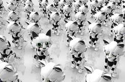 Robotic Kitten, One Awake. Robotic kittens many idle, one awake, 3d illustration, horizontal Royalty Free Stock Photography