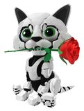 Robotic Kitten, Red Rose. Robotic kitten with red rose, 3d illustration, horizontal, over white, isolated Royalty Free Stock Image