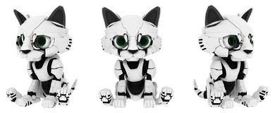 Robotic Kitten, Sitting Poses Royalty Free Stock Photos