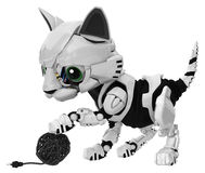 Robotic Kitten, Wire Ball Royalty Free Stock Images