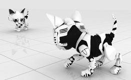 Robotic Kitten, Surface Confrontation. Robotic kittens white tile surface confrontation, 3d illustration, horizontal background Stock Images