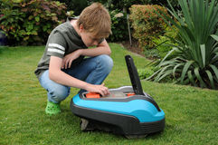 Robotic lawn mower Stock Images