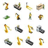 Robotic Machinery Isolated Symbols. Electronics factory isometric elements with robotic machinery and conveyor of release product isolated decorative symbols Stock Images