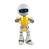Robotic man gold cup. Robotic man holding a gold cup Stock Photography
